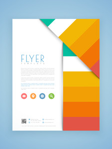 Creative business flyer template or brochure design with web icons.
