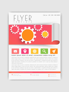 Creative business flyer template or corporate brochure design with colorful web icons.