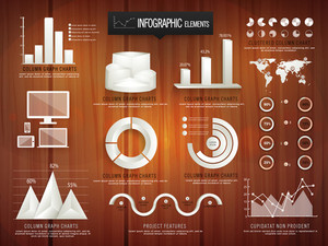 Creative business infographic elements including glossy 3D statistical bars
