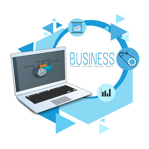 Creative business infographic elements with laptop graph and setting tool.