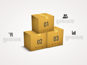 Creative Business infographic elements with packed boxes on grey background.