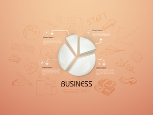 Creative business infographic layout with 3D glossy pie chart and various business elements.
