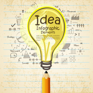Creative business infographic layout with electric bulb and pencil for idea concept.