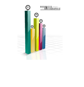 Creative Business infographic template layout with colorful 3D bars showing growth on glossy background.