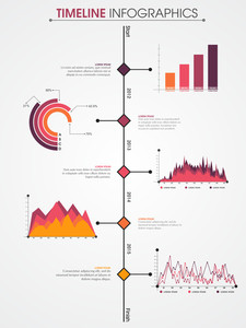 Creative Business Infographic template with colorful statistical graphs and charts.