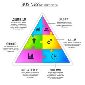 Creative Business infographic triangle with different web symbols on white background.