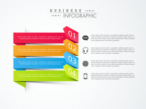 Creative business infographics layout with colorful paper arrows and various icons on grey background.
