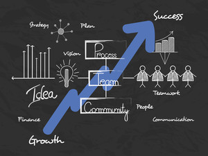 Creative business infographics template showing growth graph by blue arrow on black background