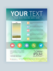 Creative business template flyer or brochure with web icons and tablet.
