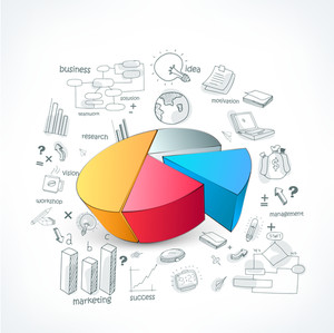 Creative colorful 3D pie chart with set of various business infographic elements on white background.