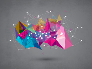 Creative colorful abstract design on grungy grey background.