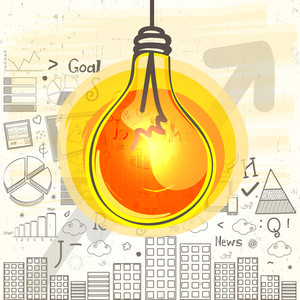 Creative colorful bulb with Business Infographic elements and view of a urban city for Idea concept.