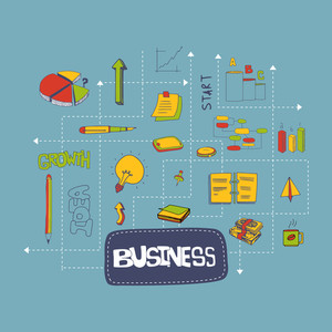 Creative colorful business infographic layout with various business elements for your print