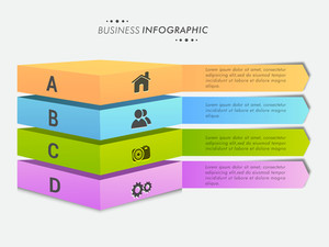 Creative colorful Business Infographic layout with web icons and alphabets on grey background.
