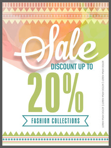 Creative colorful flyer template or banner design of Sale with 20% discount offer on Fashion Collections.