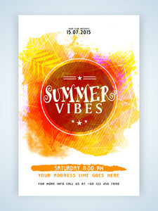 Creative colorful flyer template or banner design with date and time details for Summer Vibes.