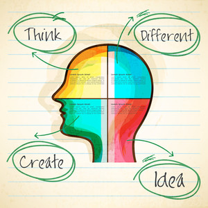 Creative colorful illustration of human head on notebook paper background for Idea concept.
