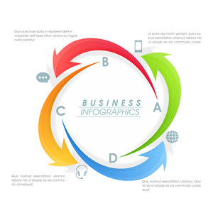 Creative colorful infographic arrows for Business purpose.
