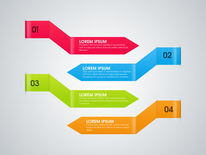 Creative colorful infographic arrows on grey background for Business.