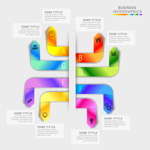 Creative colorful infographic arrows with web symbols on grey background for Business.