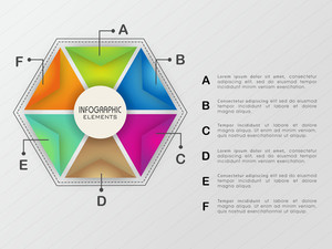 Creative colorful infographic elements in hexagon shape for Business purpose.
