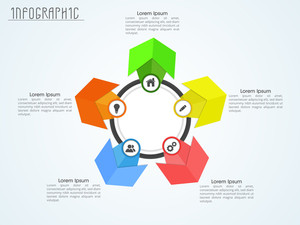 Creative colorful infographic elements with web symbols for Business.