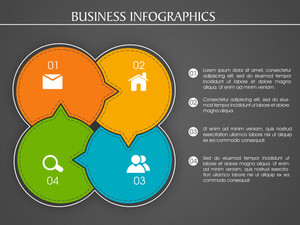 Creative colorful infographic elements with web symbols on grey background for Business.