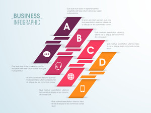 Creative colorful infographic papers with different symbols for your Business.