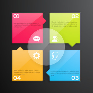 Creative colorful infographic papers with web symbols for Business purpose.