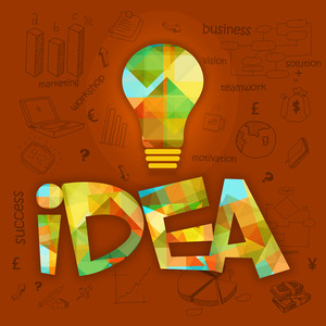 Creative colorful light bulb with text Idea in polygon style and various statistical infographic elements for business reports and presentation.