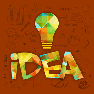 Creative colorful light bulb with various infographic elements for Idea concept.
