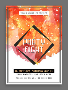 Creative colorful splash decorated flyer template or banner design for Party Night.