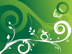 Creative Curves And Swirls On Flourish Green Background