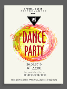 Creative Dance Party template banner or flyer design decorated with color splash.