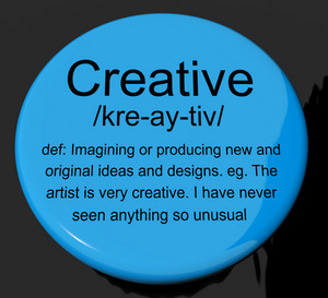 Creative Definition Button Showing Original Ideas Or Artistic Designs