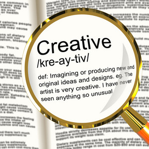 Creative Definition Magnifier Showing Original Ideas Or Artistic Designs
