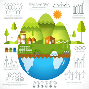 Creative ecological infographic elements with city view on globe and various statistical graphs and charts.
