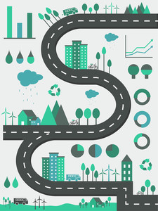 Creative ecological infographic elements with illustration of buildings