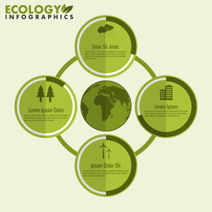 Creative ecological infographic icons or elements around the world globe for save nature concept.