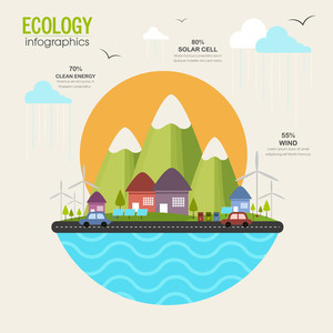 Creative ecological infographic template layout with view of urban city solar panel and vehicles running on road.