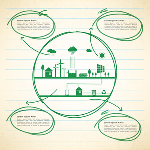 Creative Ecological Infographic template with illustration of green urban city on notebook paper background.