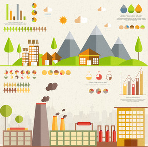 Creative Ecological Infographic template with illustration of urban city and factory showing causes of pollutions.