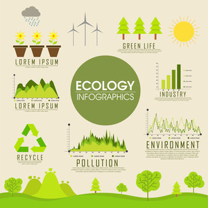 Creative Ecological Infographic template with various save nature elements.
