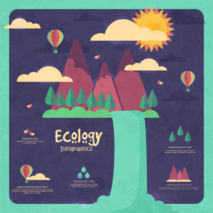 Creative ecological template layout with illustration of water coming out from mountains on grungy stylish background.