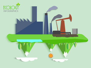 Creative ecology infographic template layout with illustration of a factory showing cause of pollution on green background.
