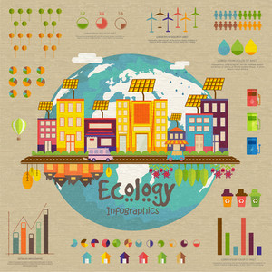 Creative ecology infographic template layout with illustration of a industrial urban city on globe and various statistical graphs.