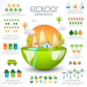 Creative ecology template layout with glossy city view and various statistical graphs and charts.