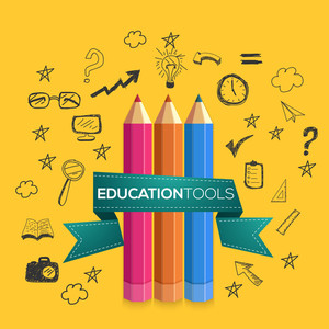 Creative Education infographic elements with colorful pencils on yellow background.