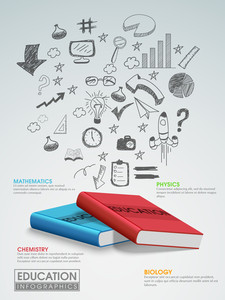 Creative education infographic layout with books and various hand drawn icons on glossy background.