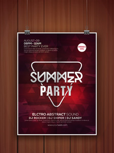 Creative elegant Summer Party celebration flyer banner or template hanging on wooden background.